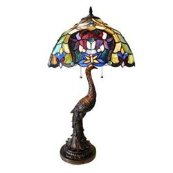 "Tiffany-style 2 Light Floral Table Lamp 17"" Shade"