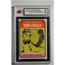 1974-75 O-Pee-Chee #214 Semi-Finals/Bruins over Blackhawks