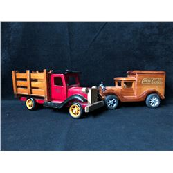 COLLECTIBLE WOODEN TRUCK LOT (COCA COLA...)