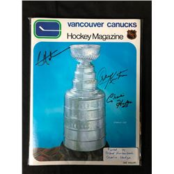 VINTAGE VANCOUVER CANUCKS HOCKEY MAGAZINE SIGNED BY ORLAND KURTENBACH & CHARLIE HODGE