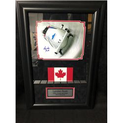 LYNDON RUSH SIGNED TEAM CANADA BOBSLEIGH 2010 FRAMED COLOR PHOTO (GAMEDAY COA)