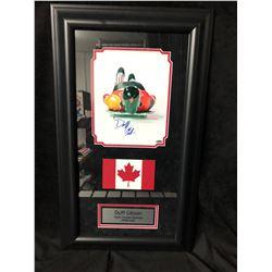 "DUFF GIBSON SIGNED (TEAM CANADA-SKELETON 2006 OLYMPICS GOLD) 14"" X 28"" GAMEDAY COA"