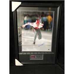 "GAETAN BOUCHER SIGNED 28"" X 22"" FRAMED OLYMPIC PHOTO (GAMEDAY COA)"