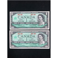 1867-1967 CANADIAN ONE DOLLAR BANK NOTE LOT (CENTENNIAL OF CANADIAN CONFEDERATION)