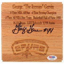 George Gervin Signed San Antonio Spurs Logo Wooden Basketball Court Panel (PSA COA)