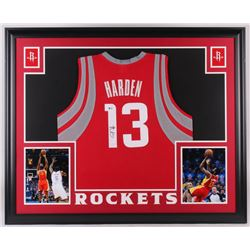 James Harden Signed Houston Rockets 35x43 Custom Framed Jersey (Beckett COA)