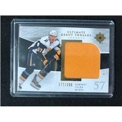 2009-10 UPPER DECK ULTIMATE DEBUT THREADS JERSEY TYLER MYERS HOCKEY CARD