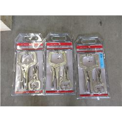 3 New 2 Piece Locking C-Clamp Sets