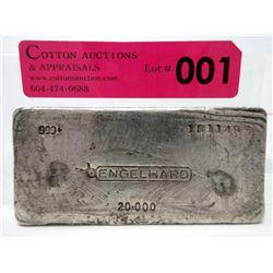 Very Rare 2002 .999 Silver 20 Oz Engelhard Bar