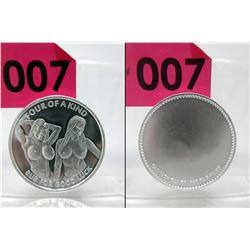 1 Oz. .999 Fine Silver Nude Motif Art Round