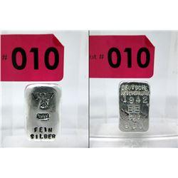 .999 Silver Bar - 1942 & Eagle/Swastika Markings