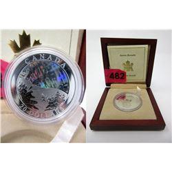 """2004 """"Aurora Borealis"""" 1 Oz. Hologram $20 Coin"""