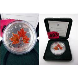 2001 .9999 Fine Silver Coloured Maple Leaf Coin