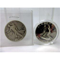 1942 USA 50¢ & Franklin Mint .900 Proof Silver 50¢