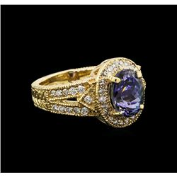 14KT Yellow Gold 2.70 ctw Tanzanite and Diamond Ring