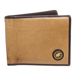 Hunting World Beige Leather Bifold Wallet