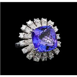 GIA Cert 11.86 ctw Tanzanite and Diamond Ring - 14KT White Gold