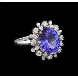 14KT White Gold 4.91 ctw Tanzanite and Diamond Ring