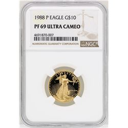 1988-P $10 Gold Eagle Gold Coin NGC PF69