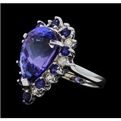 16.06 ctw Tanzanite, Sapphire and Diamond Ring - 14KT White Gold
