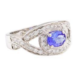 1.22 ctw Tanzanite And Diamond Ring - 14KT White Gold