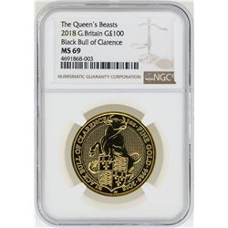 2018-G $100 Britain Black Bull of Clarence Gold Coin NGC MS69