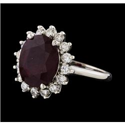 6.30 ctw Ruby and Diamond Ring - 14KT White Gold