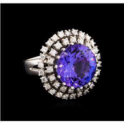 13.60 ctw Tanzanite and Diamond Ring - 14KT White Gold