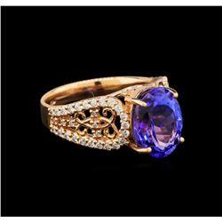 14KT Rose Gold 3.82 ctw Tanzanite and Diamond Ring