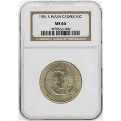 1951-S Washington-Carver Commemorative Half Dollar Coin NGC MS66