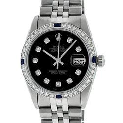 Rolex Mens Stainless Steel Black Diamond & Sapphire Datejust Wristwatch