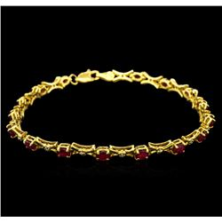 10KT Yellow Gold 3.50 ctw Ruby and Diamond Bracelet