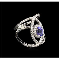 0.99 ctw Tanzanite and Diamond Ring - 14KT White Gold