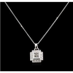 0.55 ctw Diamond Pendant With Chain - 18KT White Gold