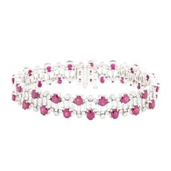 15.96 ctw Colored Stone And Diamond Bracelet - 14KT White Gold