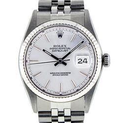 Rolex Mens Stainless Steel 36MM Slate Grey Index Datejust Wristwatch