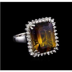 11.85 ctw Ametrine Quartz and Diamond Ring - 14KT White Gold