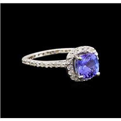 14KT White Gold 1.11 ctw Tanzanite and Diamond Ring