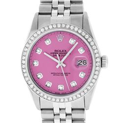 Rolex Mens Stainless Steel Pink Diamond 36MM Datejust Wristwatch