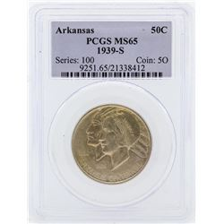 1939-S Arkansas Centennial Commemorative Half Dollar Coin PCGS MS65