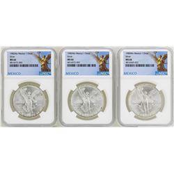 Lot of 1982Mo/1983Mo/1985Mo Mexico Libertad Onza Silver Coins NGC MS66
