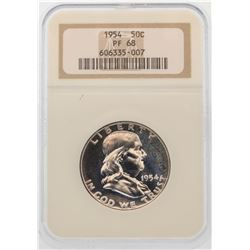 1954 Franklin Half Dollar Silver Proof Coin NGC PF68