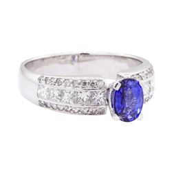 2.30 ctw Sapphire And Diamond Ring - 18KT White Gold