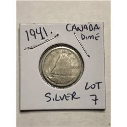 1941 Silver Canadian Dime Nice Early Coin