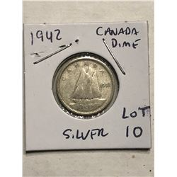 1942 Silver Canadian Dime Nice Early Coin