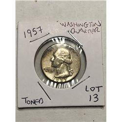 1957 Silver Washington US Quarter Beautiful Toning