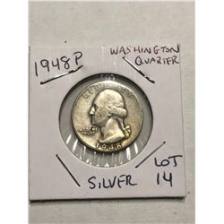 1948 P Silver Washington US Quarter Nice Early Coin