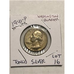 1941 P Silver Washington US Quarter Nice Early Coin