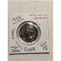 1959 Silver Washington US Quarter High Grade Beautiful Toning