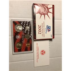 2002 S SILVER DCAM Proof Set no Quarters in Original Box with Paperwork